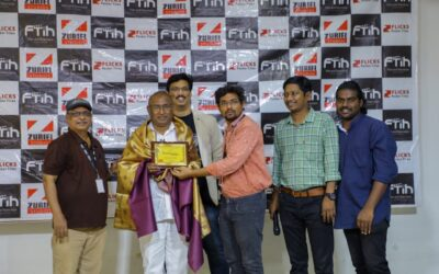 Veteran Make Up Artist Pusuluri Murali Garu At FTIH Giving Live Demo On Make Up & Explaining It's Importance In Film And Television Industry.